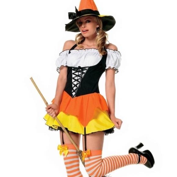 Leg Avenue Sexy Candy Corn Witch Costume Sz XS